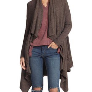 Free People Brown Waterfall Open Front Cardigan